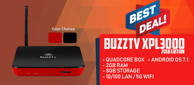 BuzzTV XPL 3000 Android IPTV OTT set-top HD 4K TV Box