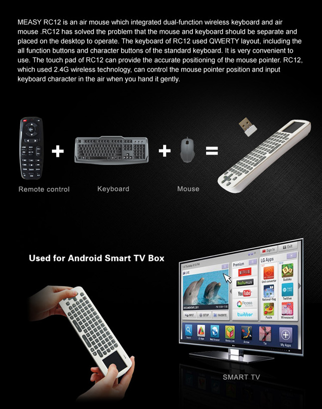 Android RC12 Wireless Air Fly Mouse + Keyboard - WorldWideSatellites com
