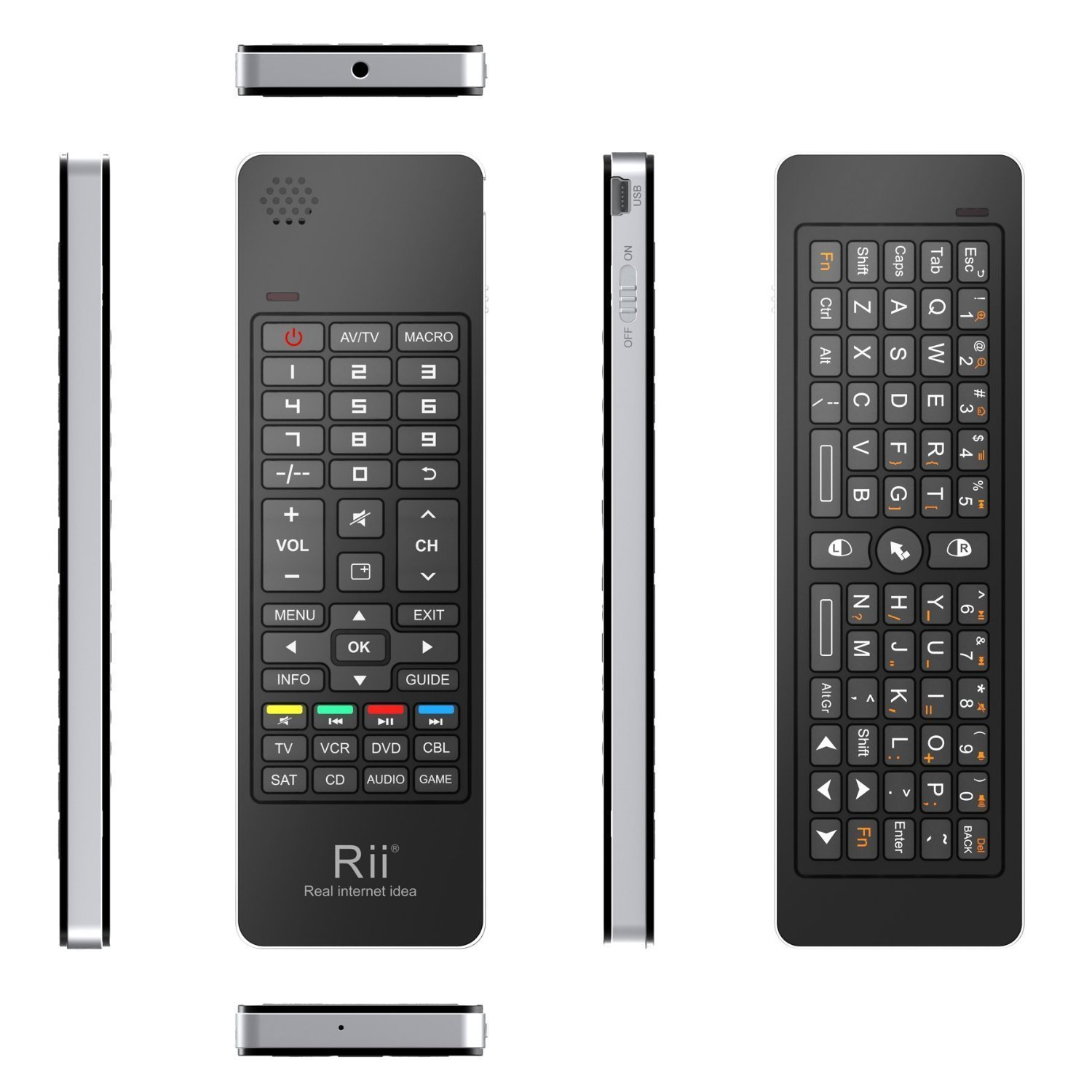 rii i13 mini wireless keyboard front and back