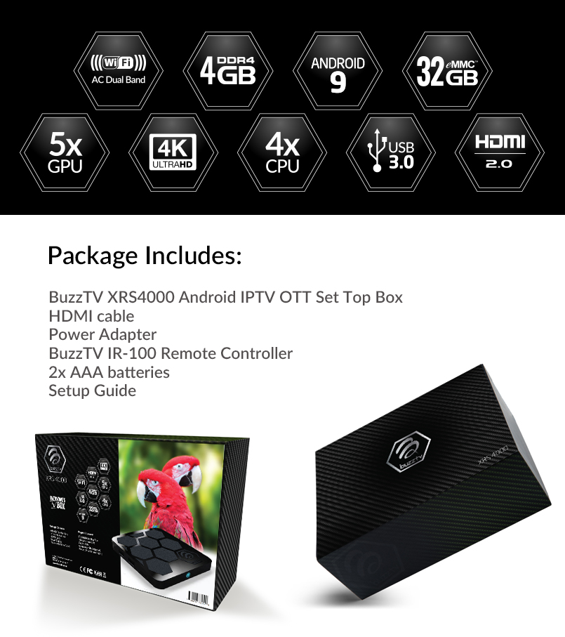 BuzzTV XRS 4000 Android IPTV OTT set-top HD 4K TV Box