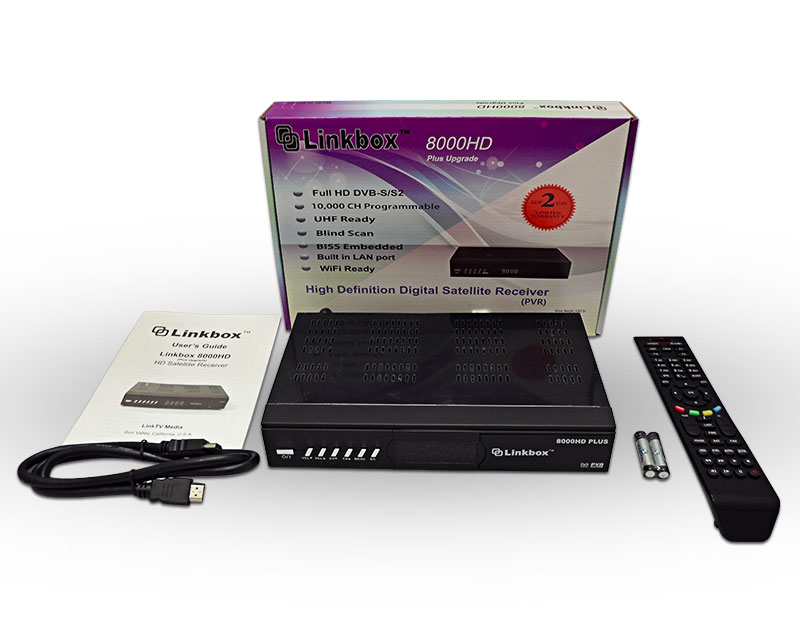 Linkbox 8000HD Plus Free to Air Satellite Receiver complete package