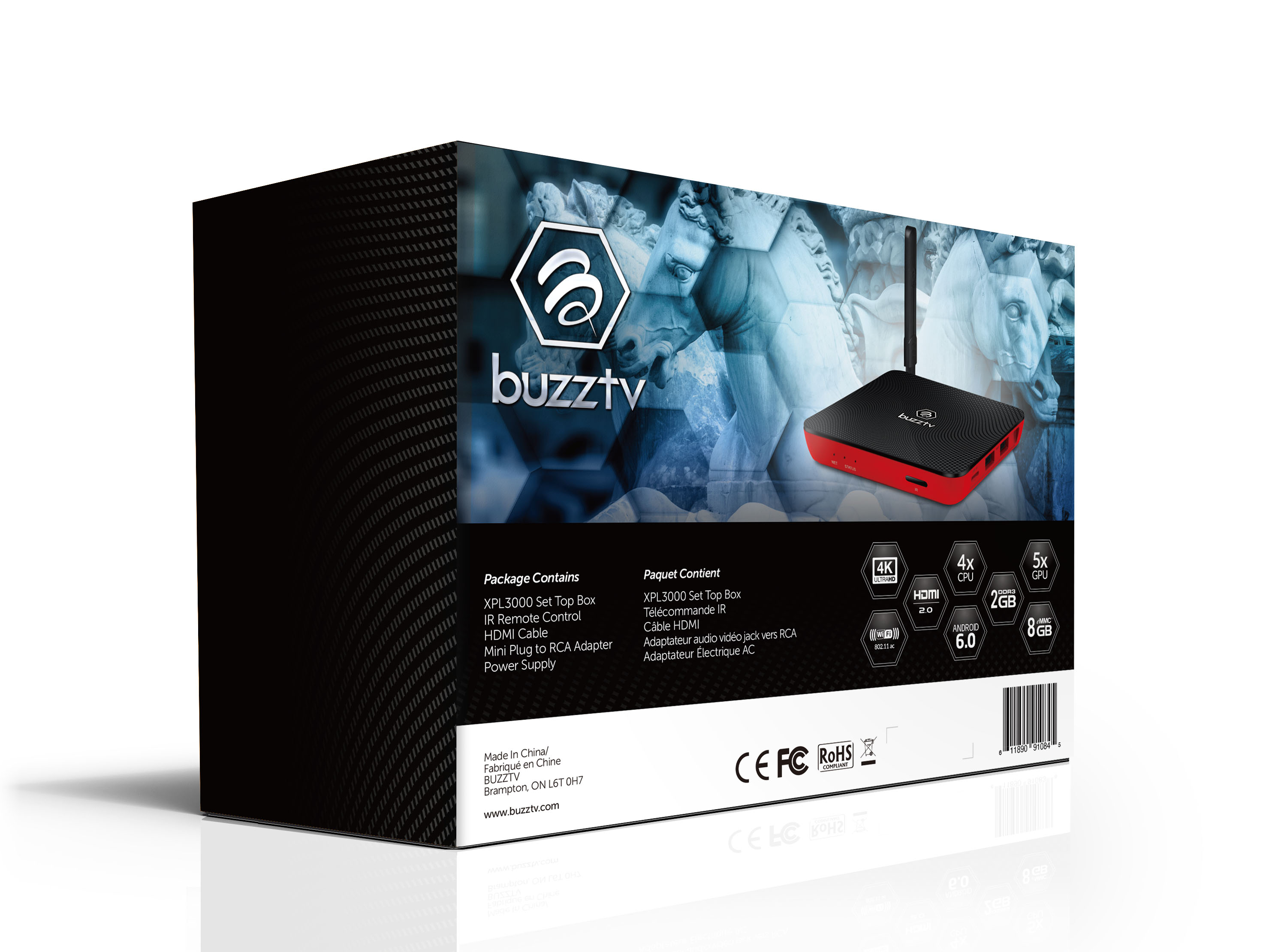 BuzzTV XPL 3000 Android IPTV OTT set-top HD 4K TV Box (Sporty Red)